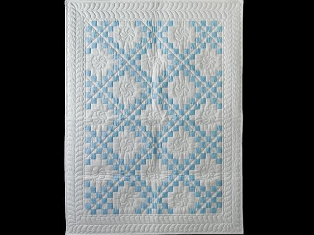 Lake Blue and White Irish Chain Quilt Photo 1