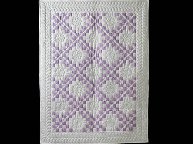 Thistle Lavender and White Irish Chain Quilt Photo 1
