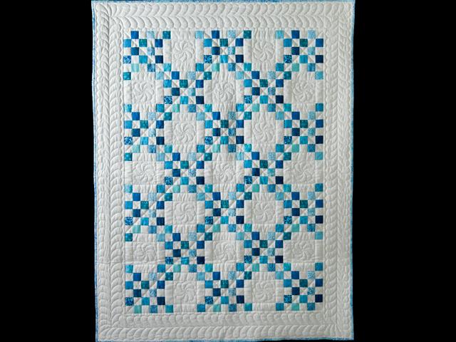 Aqua Blue and White Irish Chain Quilt Photo 1