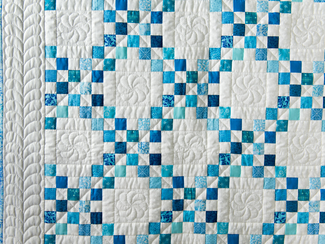 Aqua Blue and White Irish Chain Quilt Photo 3