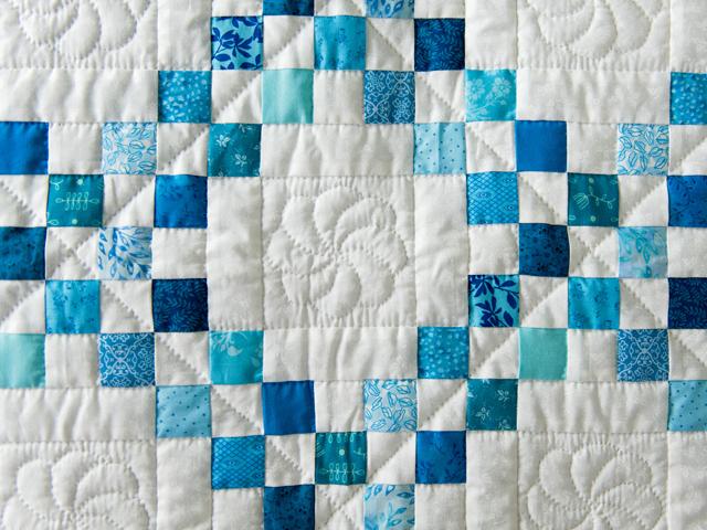 Aqua Blue and White Irish Chain Quilt Photo 5