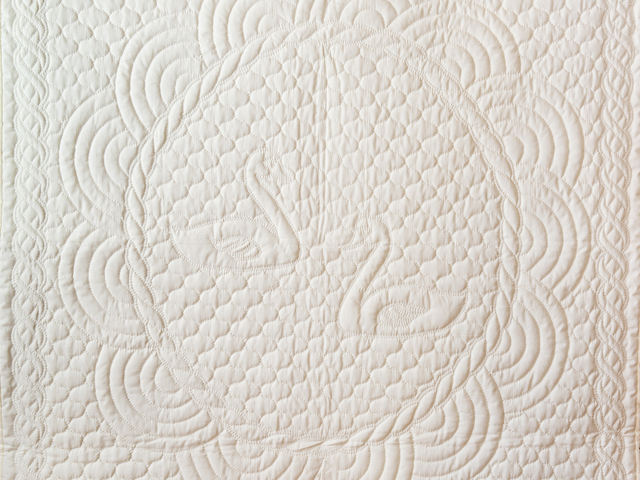 Extra Fine Creamy Yellow All Quilted Swans and Swirls Crib Quilt Photo 2