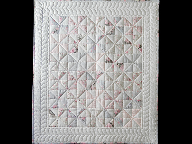 Soft Pink, Gray and White Pinwheel Crib Quilt Photo 1