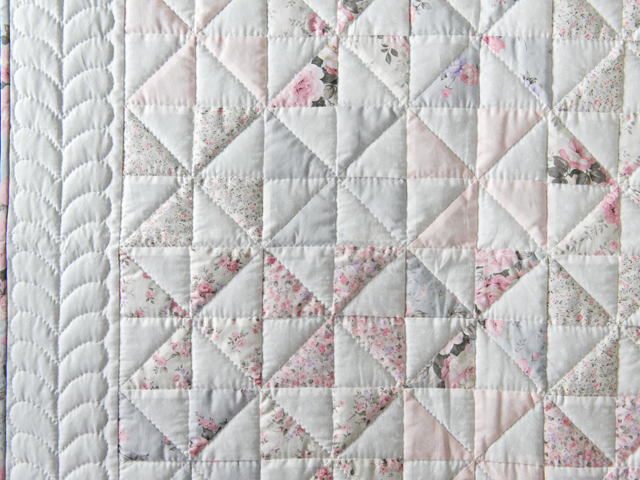 Soft Pink, Gray and White Pinwheel Crib Quilt Photo 3