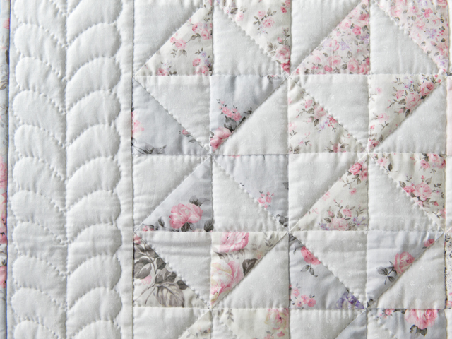 Soft Pink, Gray and White Pinwheel Crib Quilt Photo 5