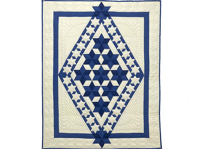 Indiana Amish Blue and Cream Crowned Star Wall Hanging Photo 1