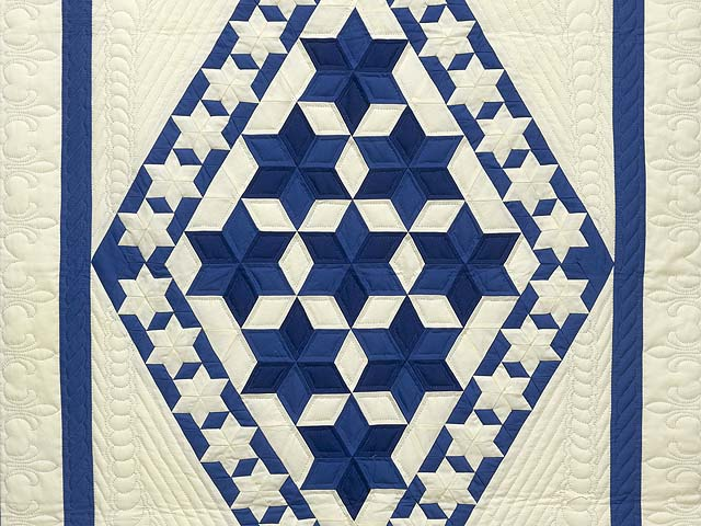 Indiana Amish Blue and Cream Crowned Star Wall Hanging Photo 2