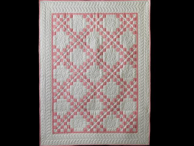 Rose and Natural Irish Chain Quilt Photo 1