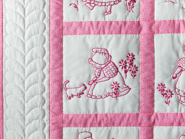 Princess Pink and White Hand Embroidered Crib Quilt Photo 3