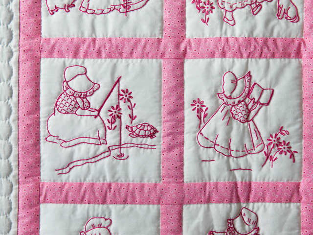 Princess Pink and White Hand Embroidered Crib Quilt Photo 5