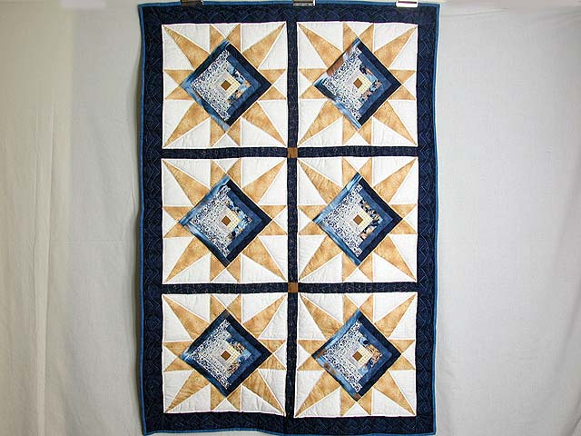 Navy and Gold Kalona Log Cabin Star Crib Quilt Photo 1