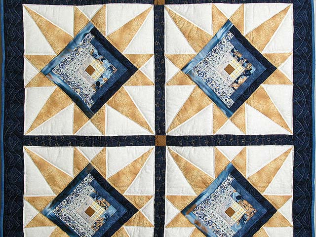 Navy and Gold Kalona Log Cabin Star Crib Quilt Photo 2