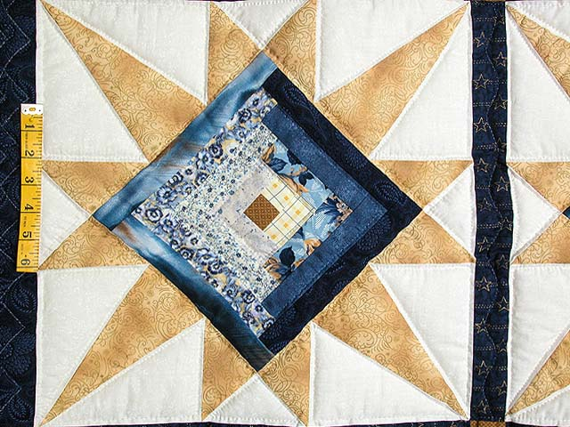 Navy and Gold Kalona Log Cabin Star Crib Quilt Photo 3