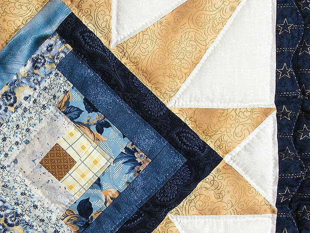 Navy and Gold Kalona Log Cabin Star Crib Quilt Photo 5