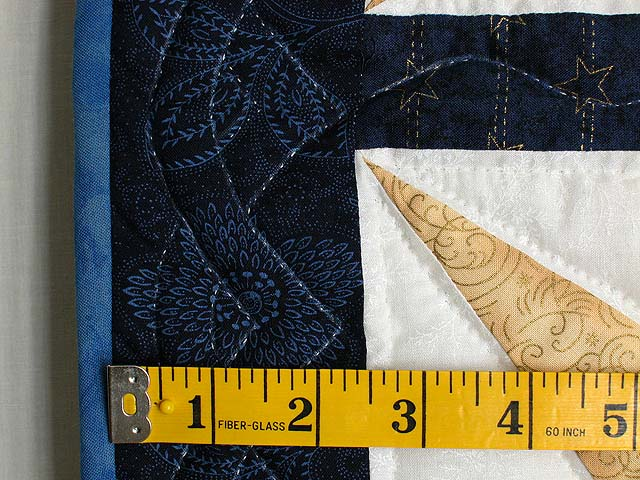 Navy and Gold Kalona Log Cabin Star Crib Quilt Photo 6