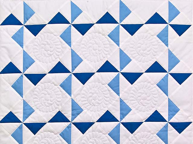 Classic Blue and White Pinwheel Quilt Photo 2