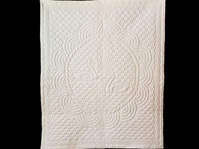 Extra Fine Creamy Yellow All Quilted Swans and Swirls Crib Quilt Photo 1