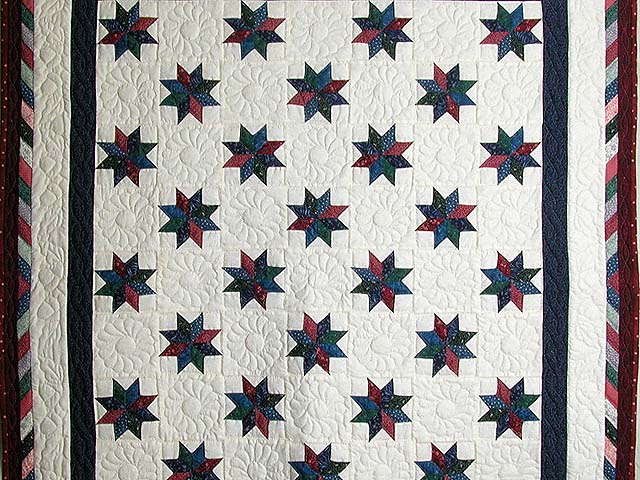 Navy Red and Multicolor Stars Throw Photo 2