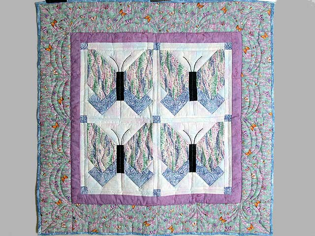 Lavender Blue and More Butterfly Patchwork Wall Hanging Photo 1
