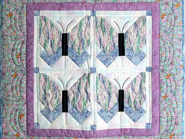 Lavender Blue and More Butterfly Patchwork Wall Hanging Photo 2