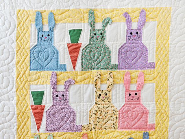 Yellow, Pastel and White Floppy Eared Bunnies Crib Quilt Photo 2