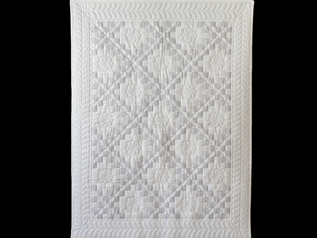 Pristine Gray and White Irish Chain Quilt Photo 1