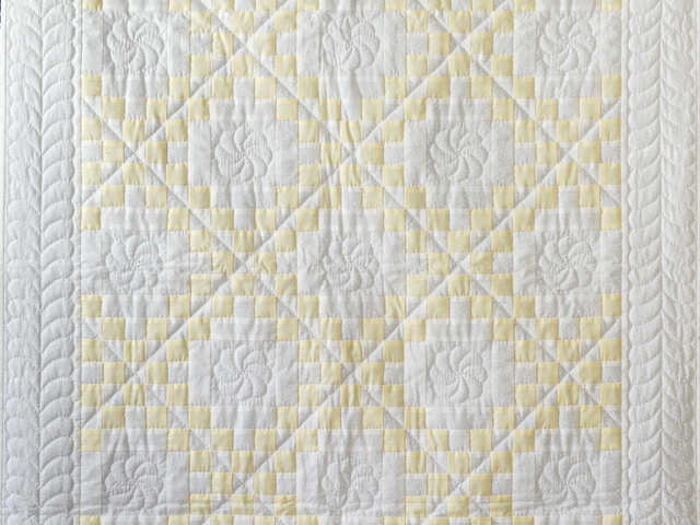Lovely Yellow and White Irish Chain Quilt Photo 2