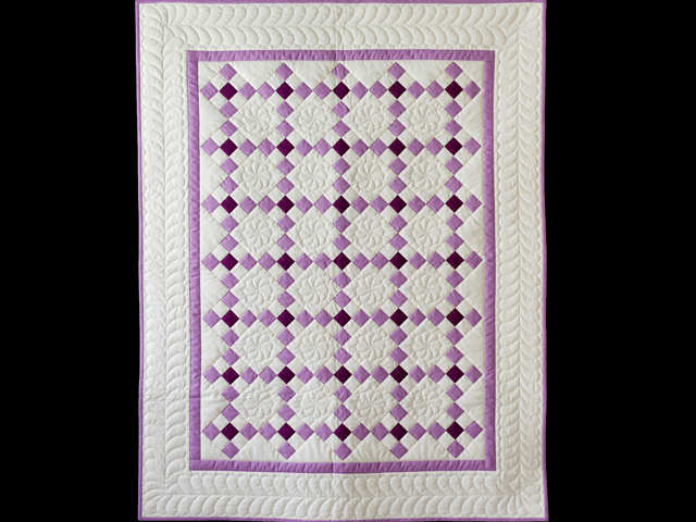 Lavender and Natural Nine Patch Quilt Photo 1