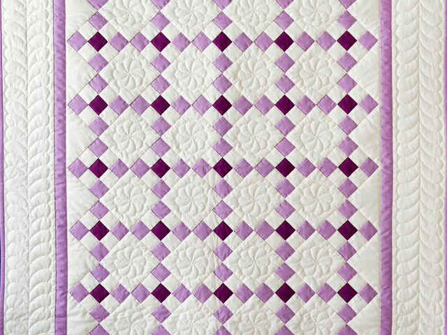 Lavender and Natural Nine Patch Quilt Photo 2