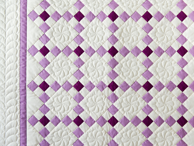Lavender and Natural Nine Patch Quilt Photo 3