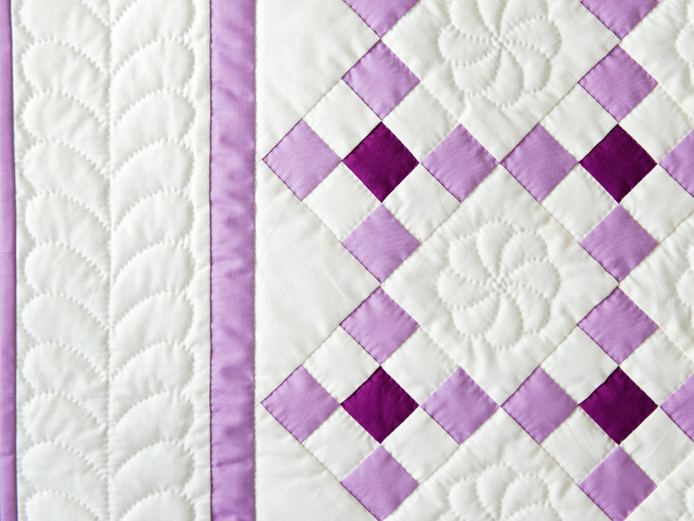 Lavender and Natural Nine Patch Quilt Photo 4