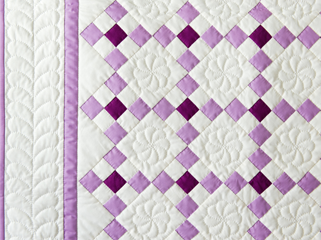 Lavender and Natural Nine Patch Quilt Photo 5