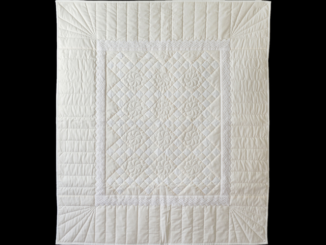 Natural, Cream and Lace Nine Patch Crib Quilt Photo 1