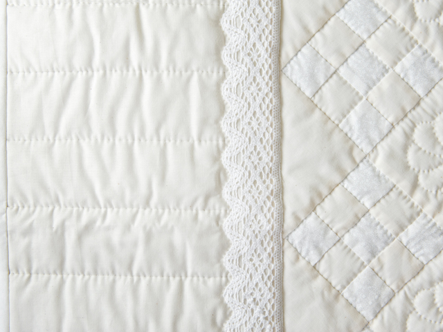 Natural, Cream and Lace Nine Patch Crib Quilt Photo 4
