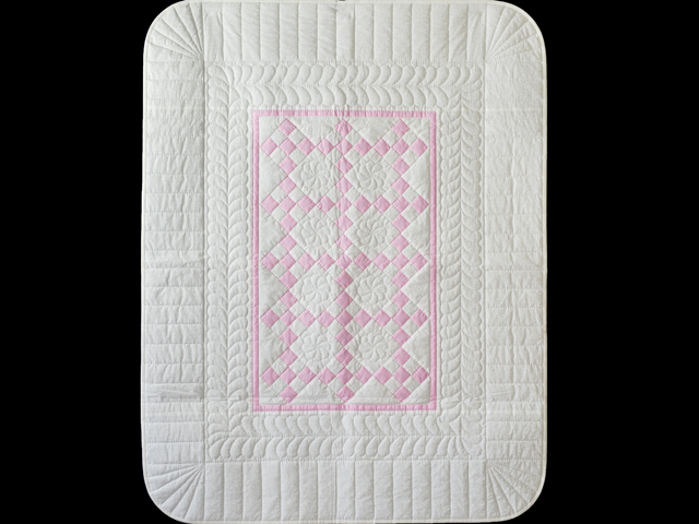 Princess Pink and White Nine Patch Crib Quilt Photo 1