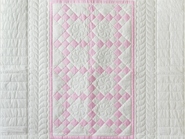Princess Pink and White Nine Patch Crib Quilt Photo 2