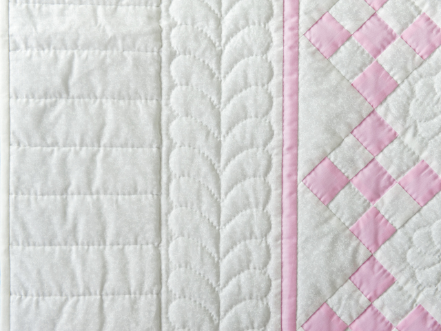 Princess Pink and White Nine Patch Crib Quilt Photo 4