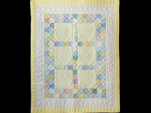 Patchwork and Hearts Crib Quilt Photo 1