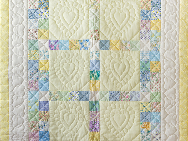 Patchwork and Hearts Crib Quilt Photo 2