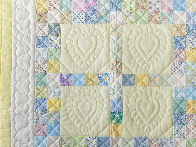 Patchwork and Hearts Crib Quilt Photo 3