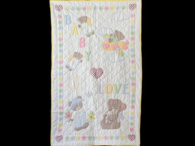 Baby Love Hand Embroidered Crib Quilt Photo 1