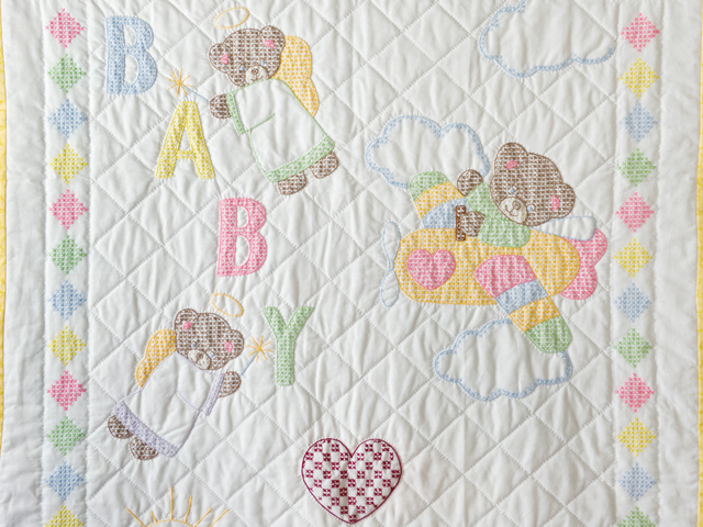 Baby Love Hand Embroidered Crib Quilt Photo 2