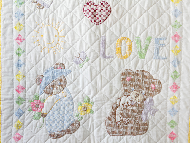 Baby Love Hand Embroidered Crib Quilt Photo 3