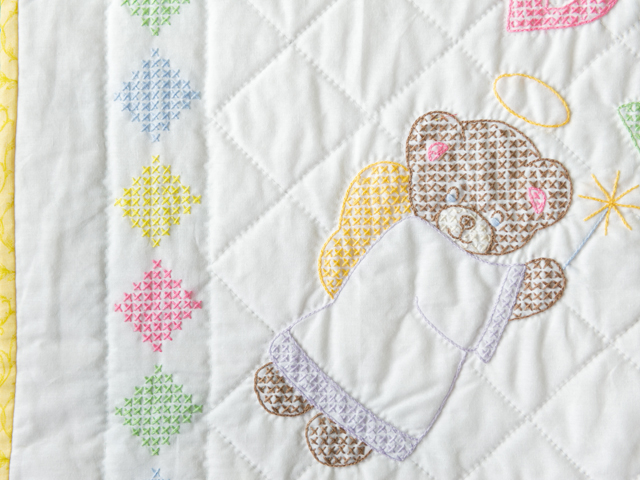 Baby Love Hand Embroidered Crib Quilt Photo 4