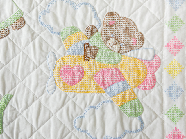 Baby Love Hand Embroidered Crib Quilt Photo 5