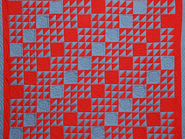 Indiana Amish Blue and Red Ocean Waves Variation Quilt Photo 2