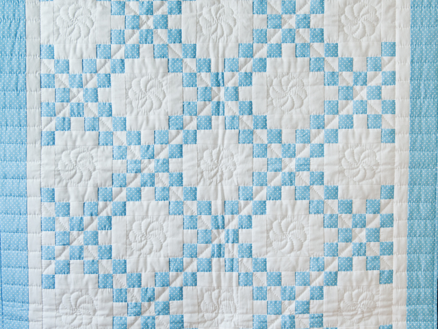 Beautiful Blue and White Irish Chain Crib Quilt Photo 2