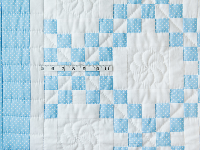Beautiful Blue and White Irish Chain Crib Quilt Photo 3