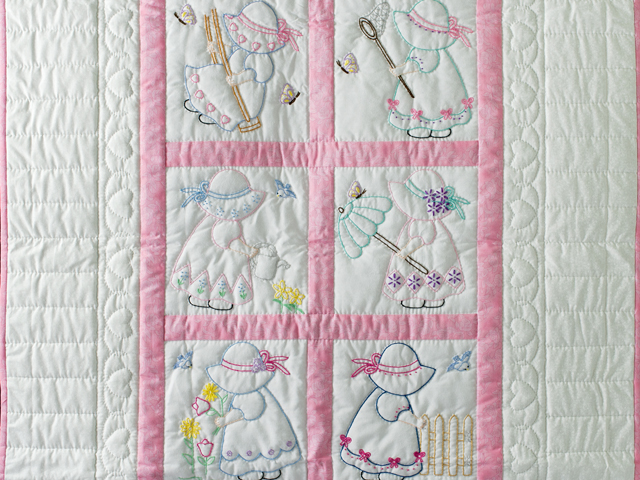 Pink and White Hand Embroidered Crib Quilt Photo 2