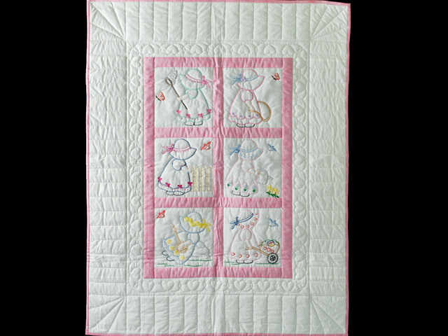 Pink and White Hand Embroidered Crib Quilt Photo 1